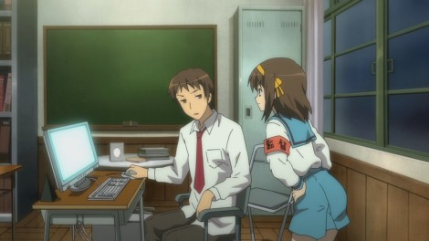 Kyon isn't really an Aniblogger, but this is a typical look